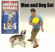 AMERICAN DIORAMA 1:24 FIGURE - MAN AND DOG 2 PIECE FIGURE SET AD-23927