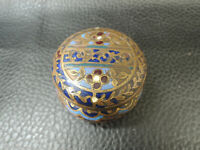 Antique French Champleve Cloisonne Enamel Dore Bronze Patch Pill Trinket Box