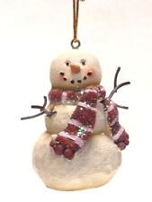 """2.7"""" HAND PAINTED RESIN SNOWMAN CHRISTMAS HOLIDAY ORNAMENT STYLE 2"""