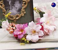 Women Girl BOHO Beach wedding Pink Flower Hair Headband crown Prop Garland hoop