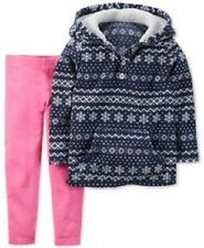 Carter's Blue Fleece Hoodie Pullover Top & Pink Leggings Outfit Toddler Girl 2T