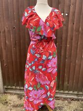 And & Other Stories Red Floral Wrap Dress 16uk