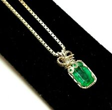 """Sterling Silver 925 Wire Wrapped Green Tourmaline Pendant Necklace 20"""" Box Chain"""