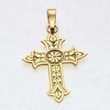Estate 14k yellow gold Large Cross Crucifix Pendant Thin Vintage