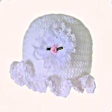 HANDMADE CROCHETED WHITE REBORN DOLL HAT GIRL berenguer american tiny knit lace