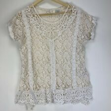 Miss Me Off White Lace Floral Boho 3/4 Sleeve Top Size Medium