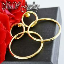 925 Sterling Silver Gold Plated Stud Earrings CIRCLES ( HOOPS )