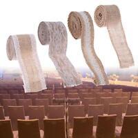 2m Hessian Ribbon White Lace Natural Jute Burlap Tape Wedding DIY Rustic Decor