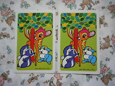 Two/pair vintage/kitsch 70's Nintendo game/playing cards - Bambi & friends, deer