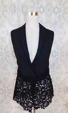 PEACHOO + KREJBERG Black Embroidered Detail Designer Crochet Vest 36, US 4