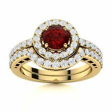1.08 Ct Natural Garnet & Diamond 14k Yellow Gold Halo Bridal Engagement Ring Set