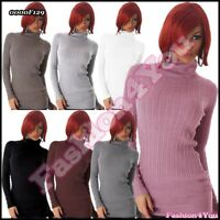 Womens Jumper Ladies Turtleneck Casual Knitted Pullover One Size 8,10,12,14 UK