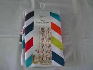 SHOWER CURTAIN  Bright Bold Colorful Chevron Geometric Fabric NEW NWT