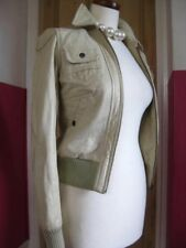 Ladies NEXT cream real leather JACKET COAT size 8 biker style bomber zip