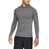Under Armour Mens Fitted ColdGear Hoodie Grey Sports Gym Hooded Warm Breathable