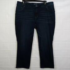 RIDERS Women's Plus Dark Wash Mid Rise Reg Fit Straight Leg Stretch Jean sz 20WP