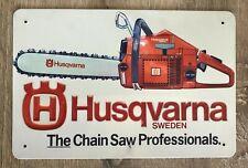 """Blechschild """"Husqvarna"""" Werkstatt Garage Chainsaw Kettensäge Retro Rost 30x20"""