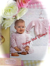 Vintage Knitting Pattern Baby Girls Sweet Cardigan & Dress. 3 Sizes FREE UK P&P