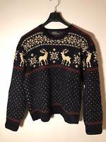 Vintage 1980's Polo Ralph Lauren Hand Knit 100% Wool Ski Sweater -Moose -Mens XL