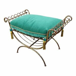 Beautiful Gilt Metal French Lady's Bench w/velvet Pillow -c1920's