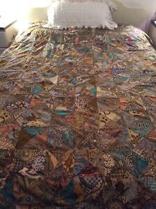 Large Vintage  Patchwork  Cotton Rustic Bali Batik Bedspread 270 x 240 cm