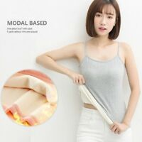 Lady Thermal Modal Vest Knit Strap Camisole Spaghetti Thick Tank Tops Warm Basic