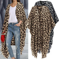 UK Women Oversized Batwing Sleeve Leopard Print Top Jacket Cardigan Outwear Coat