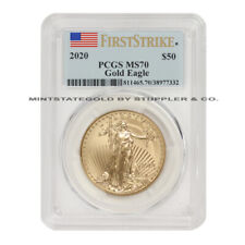 2020 $50 American Gold Eagle PCGS MS70 First Strike 1oz 22KT coin w/ Flag Label