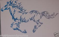 BLUE SILVER Mustang Tribal Flame Horse pony Window Decal Decals Trailer Graphics