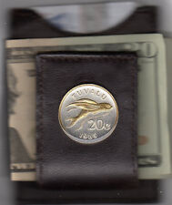 Leather Card Case / Money Clip Gold & Silver Tuvalu 20c. Flying Fish Coin 167FCM
