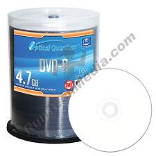 100 Optical Quantum 16x 4.7GB DVD-R White Inkjet HUB Printable Blank Media Discs