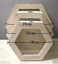 PLAIN WOODEN SET OF THREE HEXAGON TRINKET JEWELLERY BOX CASKETS DECOUPAGE ART