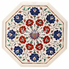 15'' White Marble Top End Center Table Inlay Furniture Art Marquetry Patio Decor