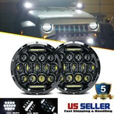 DOT Pair 7 Inch Round LED Headlights Hi/Lo Black for Jeep Wrangler TJ 1997-2006