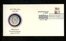 US Inauguration Day FDC Ronald W Reagan 1985 Fleetwood Medallion RWR-II-None DC