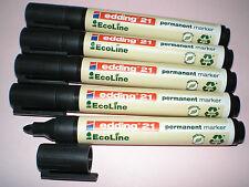 5 pcs Edding 21 Permanent Marker Black Round Point 1,5 -3 mm Felt-Tip Pen ECO