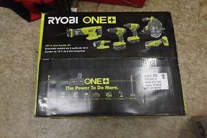 Ryobi One+ 18V Li-Ion 6PC Combo Kit DRILL/DRIVER/SAW P1819 BRAND NEW