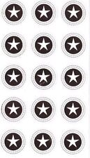 30 Round Star Seal Stickers  Gold Colour