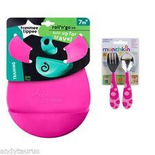 Tommee Tippee Roll & Go Bib + Matching Munchkin Cutlery Set BPA FREE 7 Months+