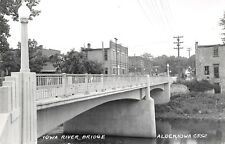 Alden IA~Iowa River Concrete Bridge Into Town~Grocery Store~1950s RPPC