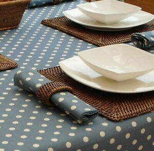 140x210cm OVAL VINTAGE BLUE WITH CREAM POLKA DOT TABLECLOTH - 6 SEATER