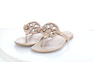 28-34 $198 Women's Sz 9 M Tory Burch Miller Leather Logo Flat Sandals