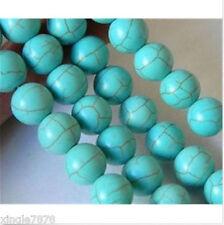 "10mm Blue Turkey Turquoise Gemstone Round Loose Beads 15"""