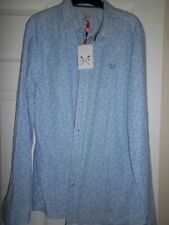 NEW MENS CREW TAILORED FIT BLUE COTTON NEWQUAY SHIRT LONG SLEEVED SIZE L RRP £60