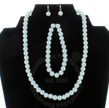 Faux Pearl Necklace Bracelet Earring Set White Wedding Bridesmaid Women Girl NEW