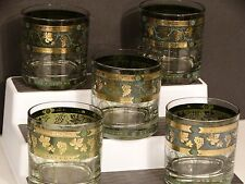 5 Vintage Cera Golden Grapes on Green Band Double Old Fashioned Glasses Highball