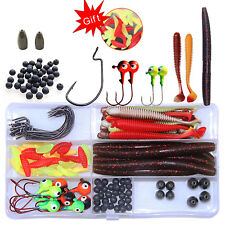 108pcs Soft Fishing Lures Jig Head Hooks Beads Tungsten Bullet Weights Sinkers