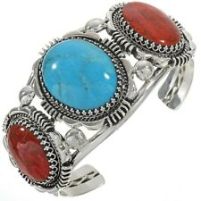 Navajo Indian Coral Turquoise Cuff Heavy Gauge Sterling Bracelet