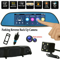 7'' HD 1080P Dual Lens Camera Car DVR Vehicle Rearview Mirror Dash Cam Recorder