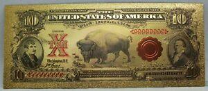 "1901 $10 Bison Buffalo Novelty 24K Gold Foil Plated Note Bill 6"" - LG314"